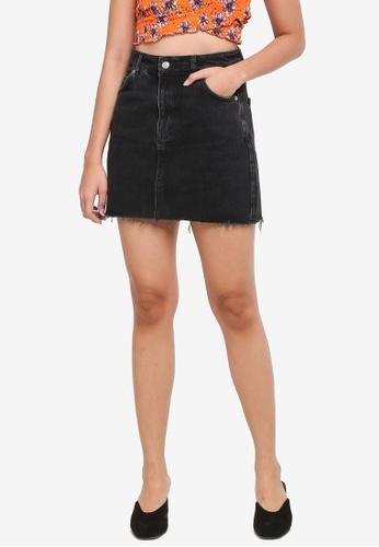 TOPSHOP black Denim Mini Skirt 8731EAA4A49525GS_1