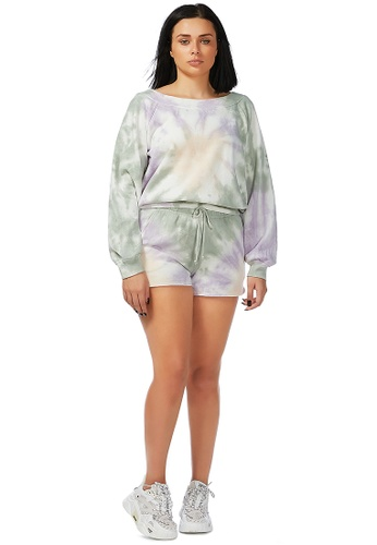 London Rag grey Lilac Tie Dye Sweat Top CE8F7AABFC77E8GS_1