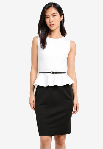 ZALORA black and white Peplum Fitted Dress 1AD5DAAF8F6783GS_1