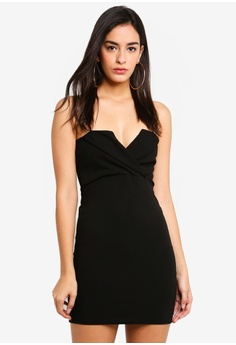 5db339e0234ba5 MISSGUIDED black Fold Over Strappy Bodycon Dress 19F75AA563ADAAGS_1