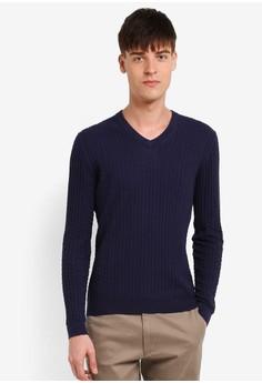 【ZALORA】 V領立體織紋針織衫