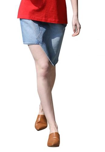 En Or navy Cotton Unbalance Denim Skirt EN523AA0GSCYSG_1