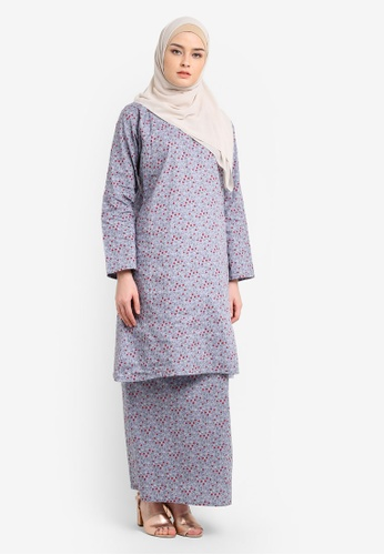 Azka Collection grey and multi Baju Kurung English Cotton AZ019AA0RTSPMY_1