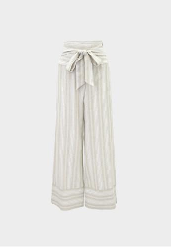 Pomelo beige Purpose Striped Waist Tie Culotte Pants - Beige 9992AAA2146BDCGS_1