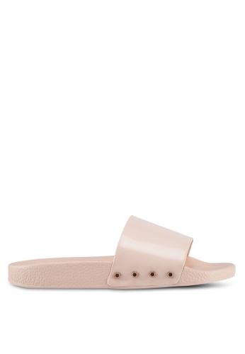 Dune London beige Stud Slider Sandals 71142SHA5B2601GS_1