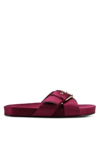 NA-KD 紅色 Buckle Detail 綢緞拖鞋 6B153SHCC6E998GS_1