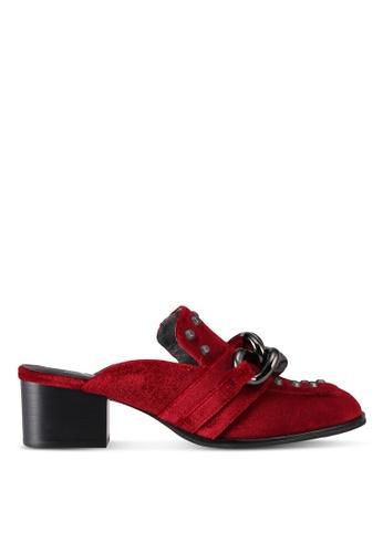 House of Avenues red Velvet Mule  Heels 25A95SHDBAB57CGS_1