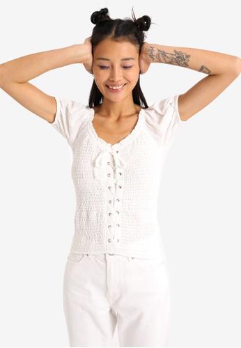 PIMKIE white Shirred Puff Sleeve Top 6B70EAA7CF438AGS_1