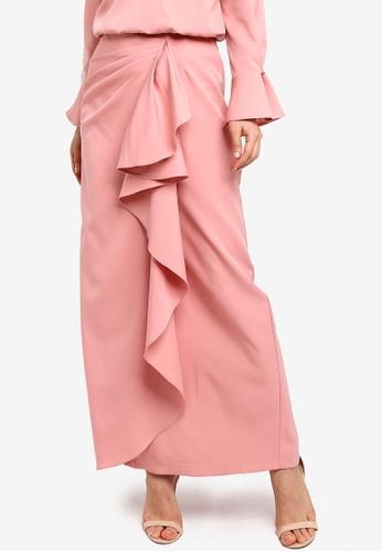 Zalia pink Draped Flounce Skirt 472D2AAD1ECFBCGS_1