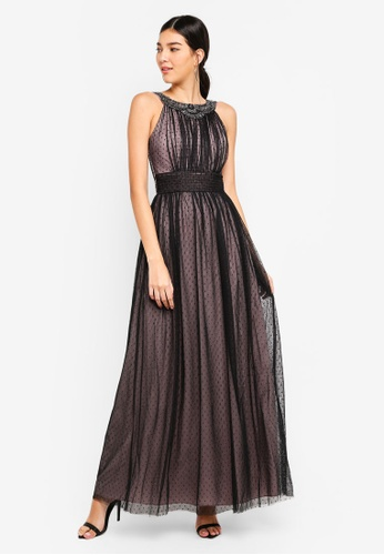 Little Mistress black Black Spot Mesh Maxi Dress 9E22BAA938BF8FGS_1