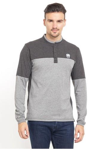 LGS grey LGS - Slim Fit - Kaos henley- Kerah Shanghai - Color Block - Abu 08BB5AA42AD43BGS_1