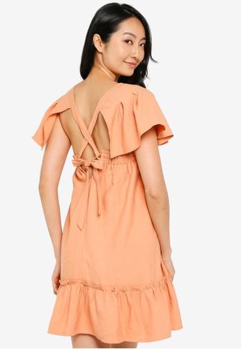 ZALORA BASICS 橘色 Babydoll Mini Dress 323B1AA4F9C259GS_1