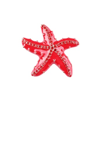 Glamorousky red Simple and Fashion Red Starfish Brooch with Cubic Zirconia 6C790AC538CEC5GS_1