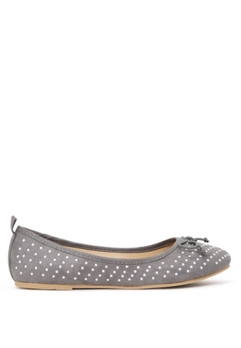 London Rag grey Grey Ballerina Flats with Silver Studs SH1700 4A9DBSHE248844GS_1
