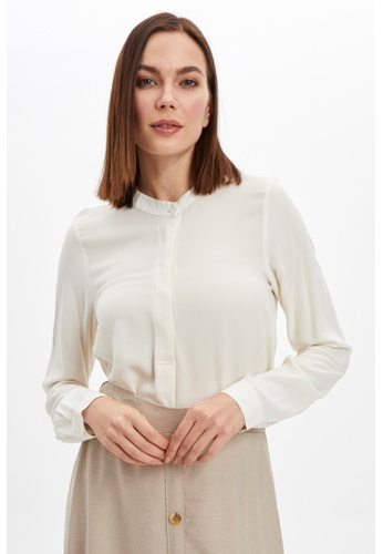 DeFacto beige Woman Long Sleeve Woven Tunic 65D2CAA3358758GS_1