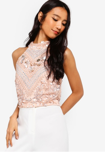 218356df14d434 Shop Lace   Beads Shalice High Neck Embellished Top Online on ZALORA  Philippines