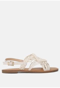 213152127 London Rag beige Weaved Flat Sandal BFC2ESHFE2C0FFGS 1