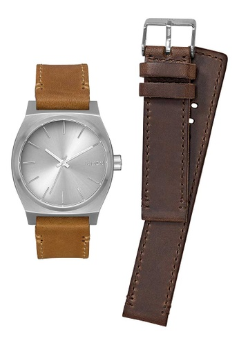 Nixon brown and silver Time Teller Pack 37mm - Silver/Brown/Tan (A11372872) 6F9ADAC3160424GS_1