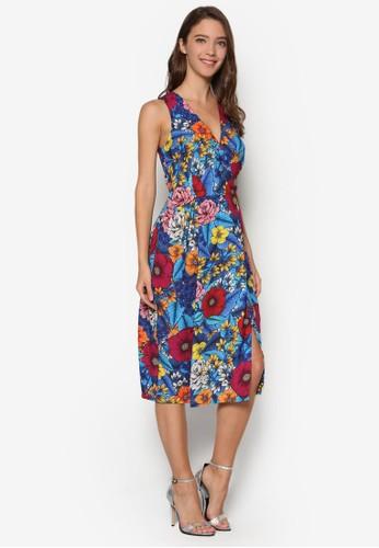 側開叉印花及膝連身裙, 服飾esprit hk outlet, 洋裝