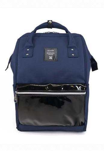 Anello black and navy anello Polyester Clear Pocket Backpack 68C04AC2F8D13FGS_1