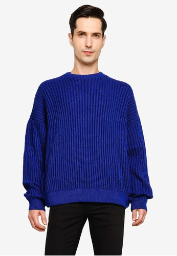 Mennace blue Bright Ribbed Sweater B7AC8AA605723EGS_1
