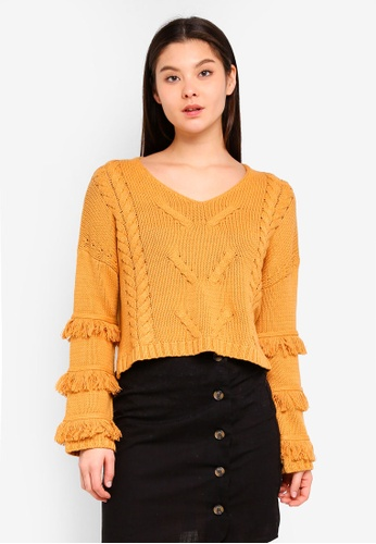 Cotton On yellow Freya Fringe Cable Knit Pullover 7DAD6AA617E9F6GS_1