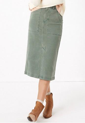 MARKS & SPENCER green Denim Midi Skirt 54D15AA4B9A044GS_1