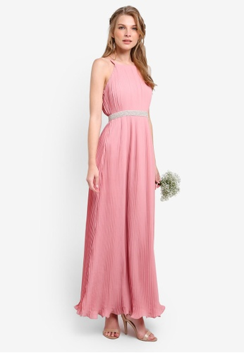 ZALORA pink Bridesmaid Pleated Maxi Dress with Embellished Waistband 43F0DAA533FF9CGS_1