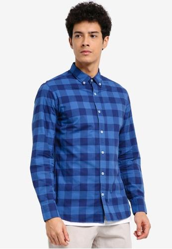 MANGO Man 藍色 修身格紋襯衫 51C75AA7CCCA24GS_1