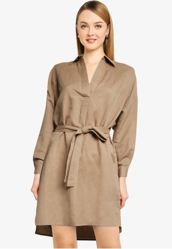 French Connection beige Rhodes Shirt Dress D3062AAB445748GS_1