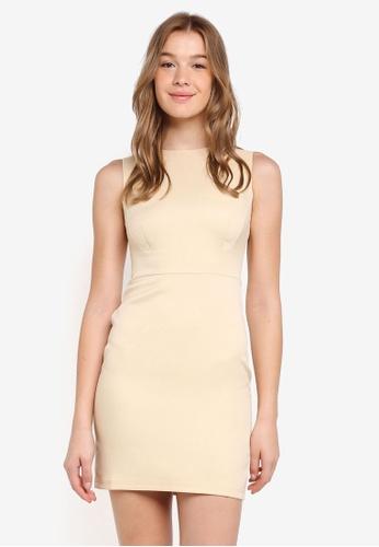 ZALORA BASICS beige Basic Slim Sheath Dress D7DBBAACC20E88GS_1