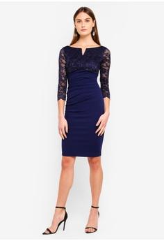faa6b1fb93 40% OFF Goddiva Lace Top Midi Dress RM 239.00 NOW RM 143.90 Sizes 8 10 12.  Goddiva red Three Quarter Sleeve ...