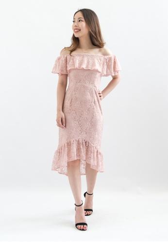 Love Knot pink Lauren Off Shoulder Lace Dress (Pink) 81326AA2956605GS_1