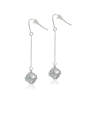Chomel white and silver Cubic Zirconia Drop Earrings 9A44FAC72D9F54GS_1