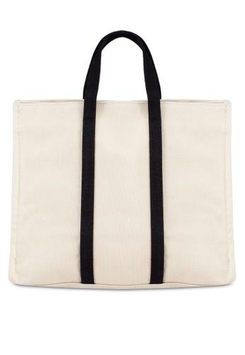 Bagstationz beige Duo-Tone Canvas Top Handle Bag BA607AC0RL0VMY_1