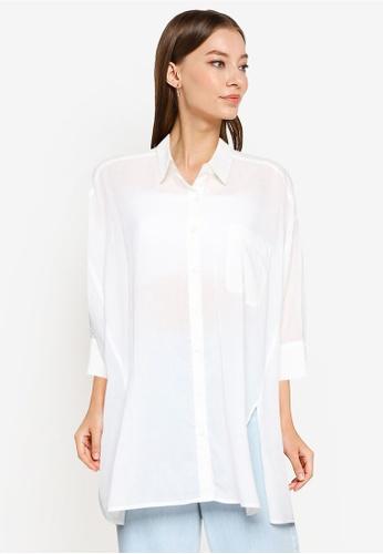Heather white Plain Oversized Shirt A6EA5AA5D7CECDGS_1