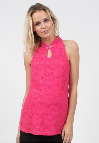 Bove by Spring Maternity pink Alda Woven Sleeveless Cheongsam Lace Top Fuchsia IT5702 BO010AA0FBRDSG_1