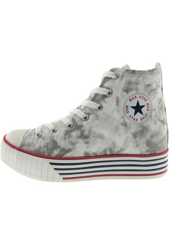 Maxstar 灰色 新款韩国鞋C30-7H時尚帆布布混合女灰色 US Women Size MA345SH98GXDTW_1