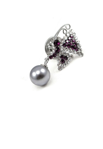 Glamorousky silver Elegant Butterfly Brooch with Silver and Purple Austrian Element Crystal and Fashion Pearl 683ABACFC7CF66GS_1