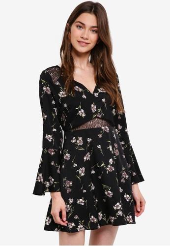 Something Borrowed black Lace Panel Mini Dress 58A6BAA511352AGS_1