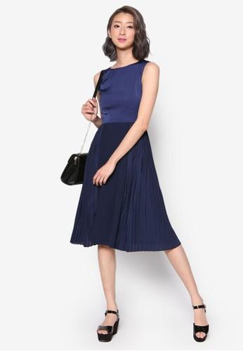 側褶飾裙擺及膝洋裝esprit 請人, 服飾, Minimalist And Polished