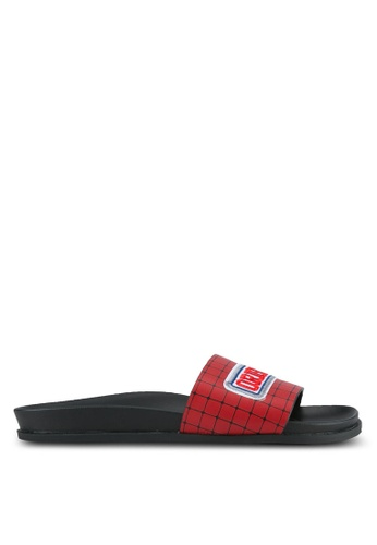 Something Borrowed red Patchwork Footbed Sliders 8969BSH7735E93GS_1