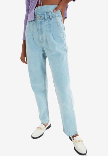 Trendyol blue Clear Blue High Waist Mom Jeans D42BAAA0692A28GS_1