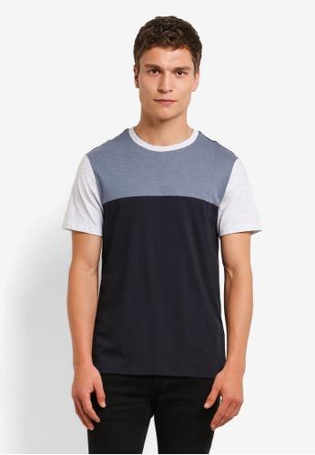 Burton Menswear London blue Navy Blue Cut And Sew T-Shirt BU964AA0RM6TMY_1