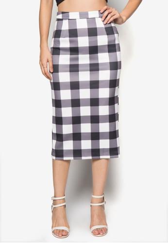 格紋zalora 內衣及膝鉛筆短裙, 服飾, 及膝裙