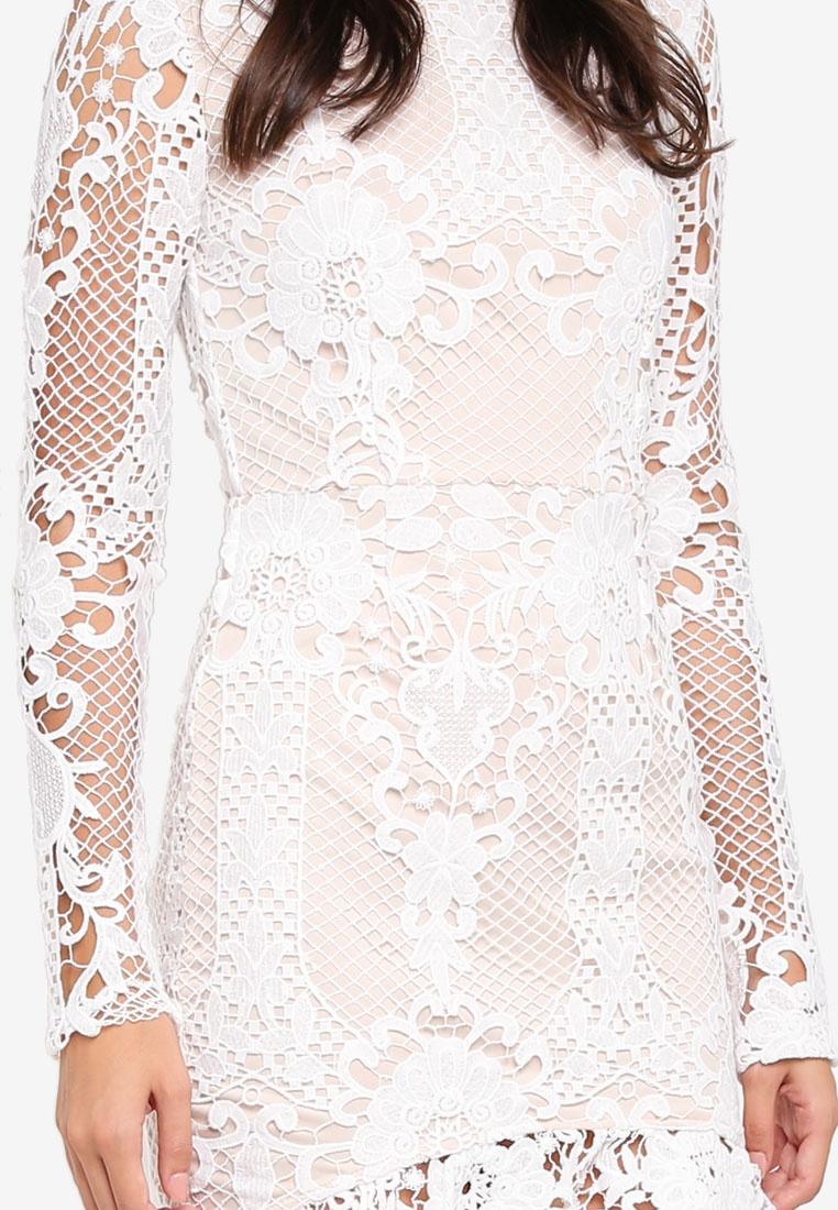 Dress Flare Hem MISSGUIDED Flippy Bodycon Lace White Sleeve X8Zxq