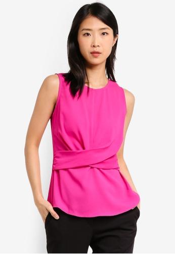 ZALORA BASICS pink Basic Drape Waist Top 0E476AA3A93AD1GS_1