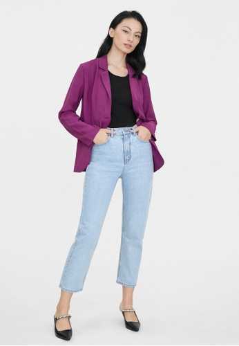 Pomelo purple Twin Pocket Double Button Blazer - Purple 104C5AA0277E88GS_1