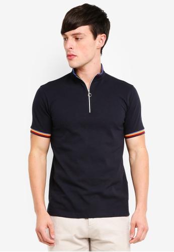 UniqTee 海軍藍色 Polo Shirt With Zip FC3B7AA2570302GS_1