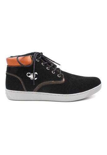 midzone black Suede Leather High Cut Sneaker MI949SH48OATMY_1